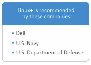 Linux+ is recommended by these companies